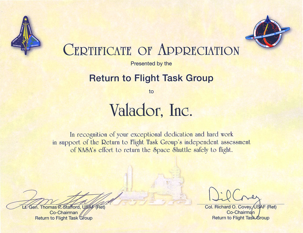 RTF Task Group Certificate of Appreciation