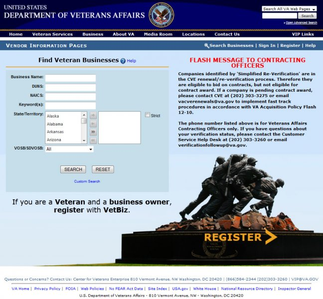 VA VetBiz website